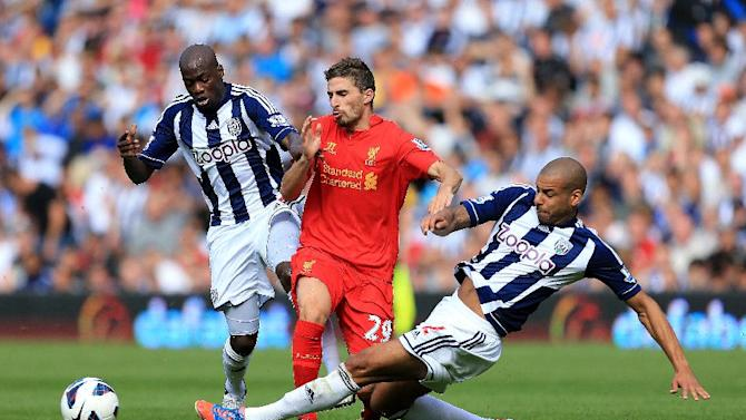 Fabio Borini, centre, was unable to get on the scoresheet as Liverpool lost to West Brom