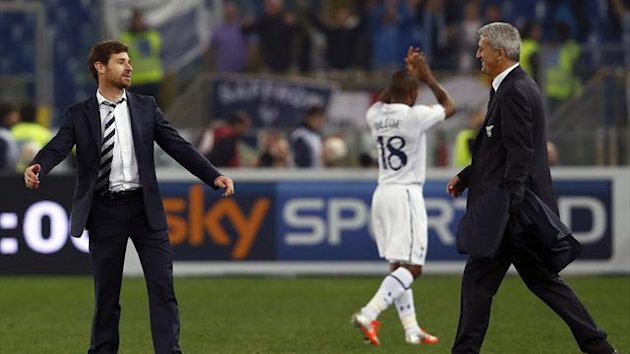 Lazio's coach Vladimir Petkovic (R) and Tottenham Hotspur's coach Andre Villas-Boas (L) are seen at the end of their Europa League soccer match at the Olympic stadium in Rome