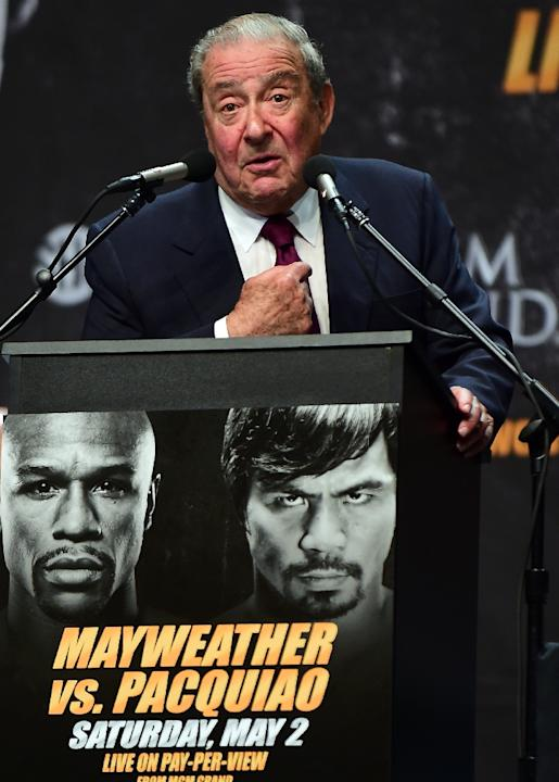 Boxing promoter Bob Arum speaks during a press conference in Los Angeles, California, on March 11, 2015