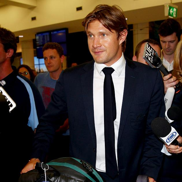SYDNEY, AUSTRALIA - MARCH 12:  Shane Watson arrives at Sydney International Airport on March 12, 2013 in Sydney, Australia. Watson returned home after disciplinary action in place with the Australia t