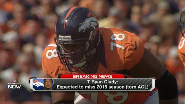 Denver Broncos offensive tackle Ryan Clady tears ACL, expected to miss 2015 season