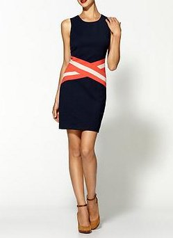 C.Luce Striped Waist Dress