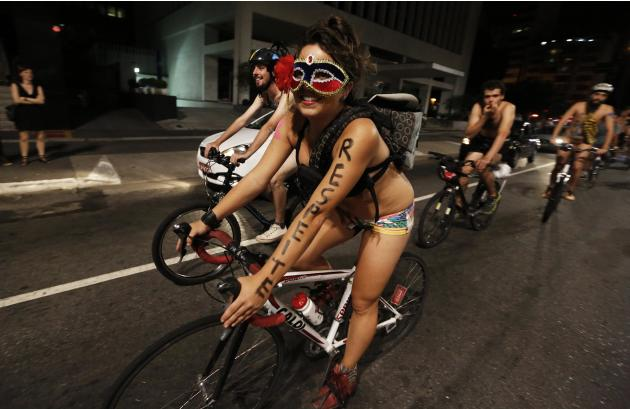 "Cyclists take part in the ""World Naked Bike Ride"" on Sao Paulo's Paulista Avenue"