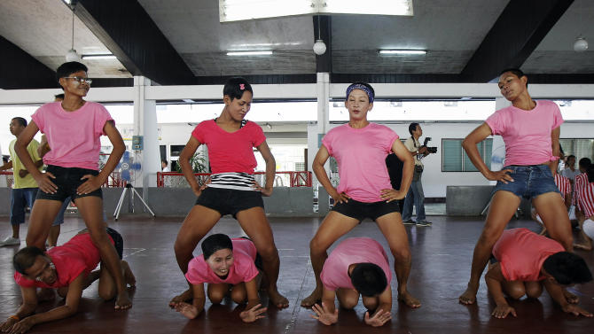 "Inmates dance ""Gangnam Style"" during a competition at Bangkok's Remand Prison"