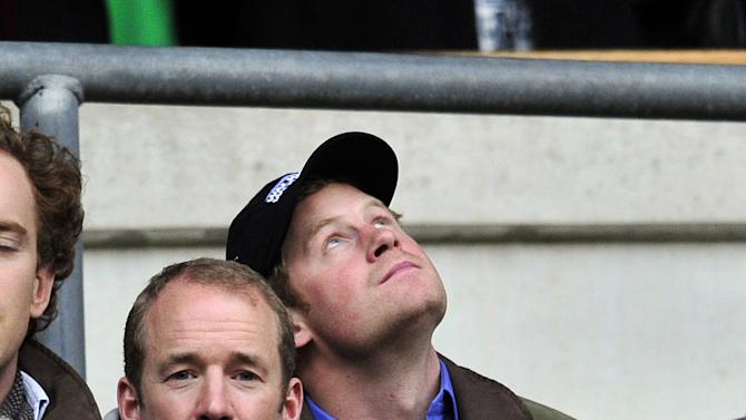 Prince Harry attends the Six Nations International rugby union match between England and Ireland at Twickenham Stadium in south-west London, England, on March 17, 2012. AFP PHOTO/GLYN KIRK (Photo credit should read GLYN KIRK/AFP/Getty Images)