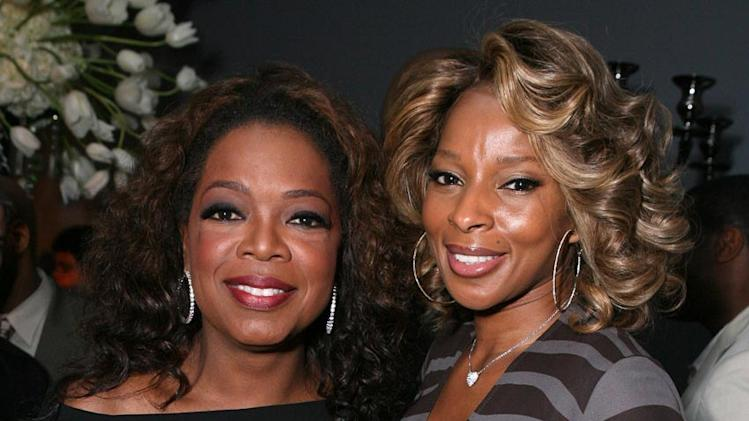 Oprah Winfrey and Mary J. Blige at the Dom Perignon Celebration for Forest Whitaker.