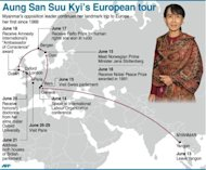 Aung San Suu Kyi's European tour itinerary. Suu Kyi pledged to keep up her struggle for democracy as she finally delivered her Nobel Peace Prize speech, 21 years after winning the award while under house arrest