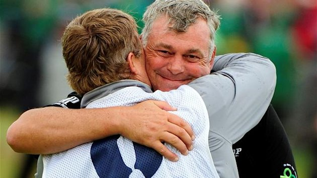 2011 The Open Darren Clarke hugs caddie John Mulrooney