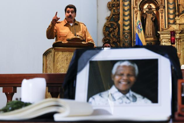Venezuela's President Nicolas Maduro speaks during a mass in honor of former South African President Nelson Mandela in Caracas