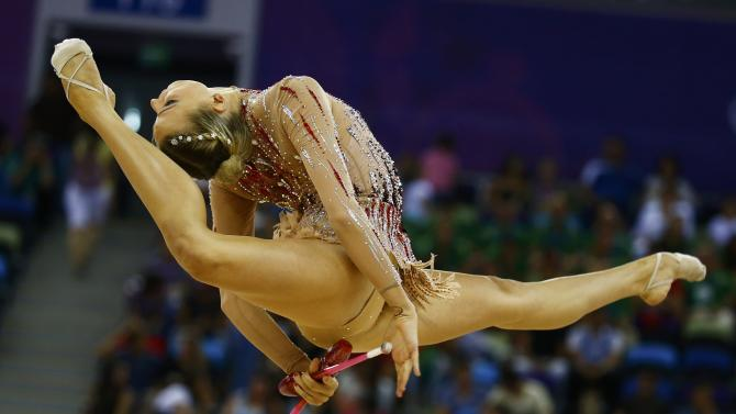 Ruprecht of Austria performs during the rhythmic gymnastics individual clubs final at the 1st European Games in Baku
