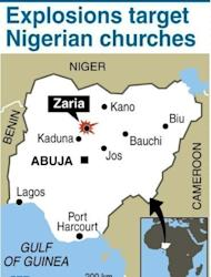 Map of Nigeria locating Zaria where suicide bombers attacked two churches on June 17. Fresh explosions and gunfire rocked a northeastern Nigerian city on Monday, a day after suicide attacks claimed by Islamists and reprisal violence by rampaging Christian mobs left 52 people dead