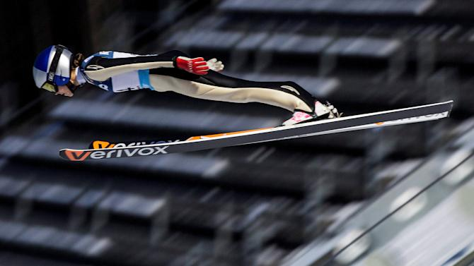 Sarah Hendrickson of the US in the air during FIS World Cup Ski Jumping, Ladies' HS100  event in Lillehammer