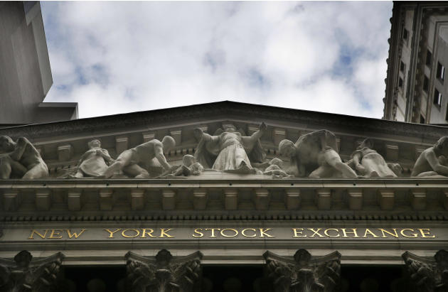 This Aug. 24, 2015, photo shows the facade of the New York Stock Exchange. Global stock markets fell sharply Tuesday, Sept. 1, 2015, and Wall Street was set to open lower as gloomy economic data from