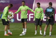 Portugal's Cristiano Ronaldo attends a training session for the Euro 2012 in Opalenica