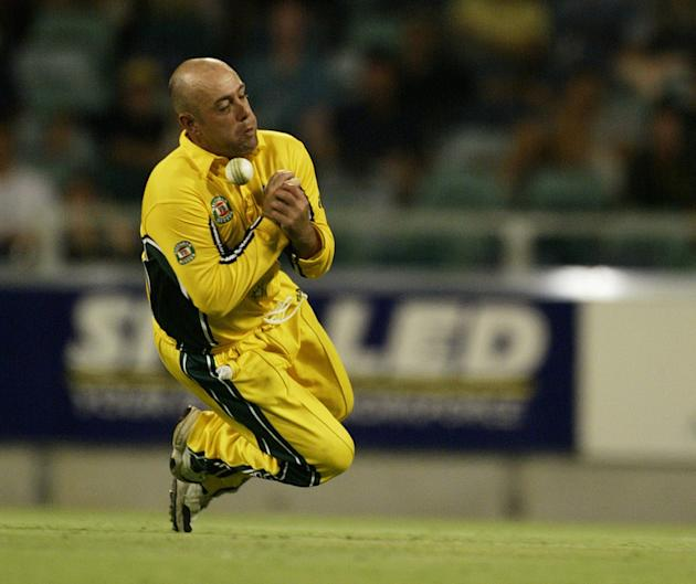 Darren Lehmann drops a catch