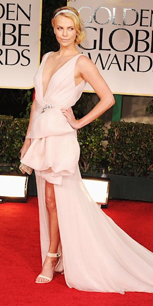 Charlize Theron is a vision in gorgeous blush Dior