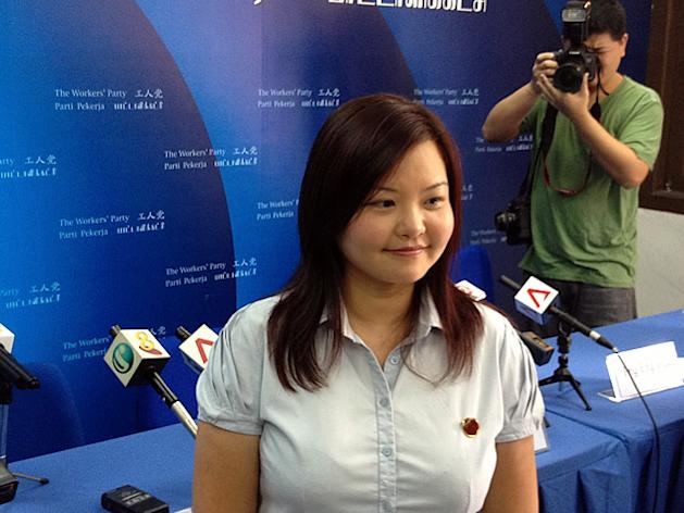 34-year-old Lee Li Lian at her official unveiling as the WP's choice candidate for Punggol East. (Yahoo! photo)