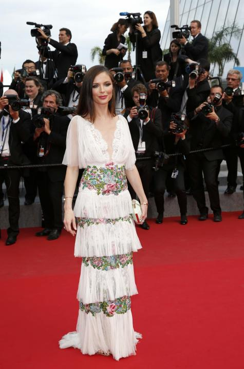 Fashion designer Georgina Chapman poses on the red carpet as she arrives at the closing ceremony of the 68th Cannes Film Festival in Cannes