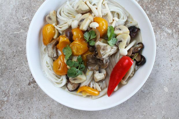 Sauteed Spring Mushrooms, Chilies, and Cilantro in Caramelized Coconut Broth
