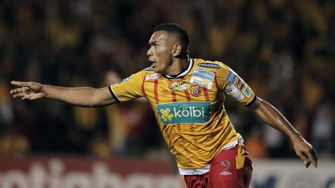 Lagos of Costa Rica's Herediano celebrates his goal against Honduras' Olimpia during their CONCACAF Champions League soccer match in Heredia