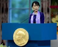 Nobel peace prize laureate, Myanmar opposition leader Aung San Suu Kyi gives her Nobel lecture in Oslo. Suu Kyi pledged to keep up her struggle for democracy as she finally delivered her Nobel Peace Prize speech, 21 years after winning the award while under house arrest