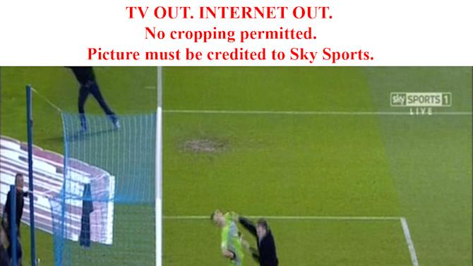 Chris Kirkland is attacked by a fan (Sky News)