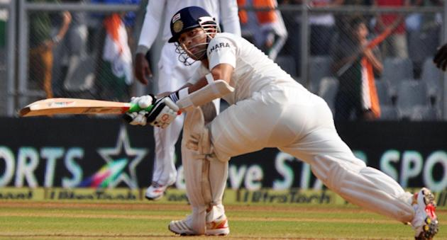Indian cricketer Sachin Tendulkar in action during the 2nd day of the 2nd Test Match between India and West Indies at Wankhede Stadium in Mumbai on Nov.15, 2013. (Photo:IANS)