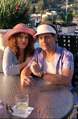 "When Cage (Peter MacNicol, R) and Fish (Greg Germann) go to Los Angeles for some fun in the sun, Cage befriends Cassandra (guest star Bernadette Peters, L), a woman with legal problems on ""The Getaway"" epsiode of Ally McBeal Ally McBeal"