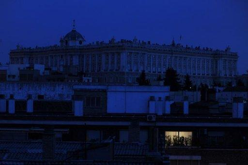 A view of Madrid's famous Real Palace with the lights turned off during Earth Hour