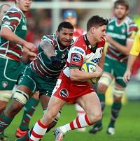 Freddie Burns, centre, contributed 17 points for Gloucester