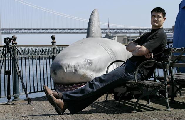 FILE - In this  Thursday, May 5, 2011 photo, NBA player Yao Ming sits near an inflatable shark during a break from filming a public service announcement about banning shark fin soup in Chinatown in Sa