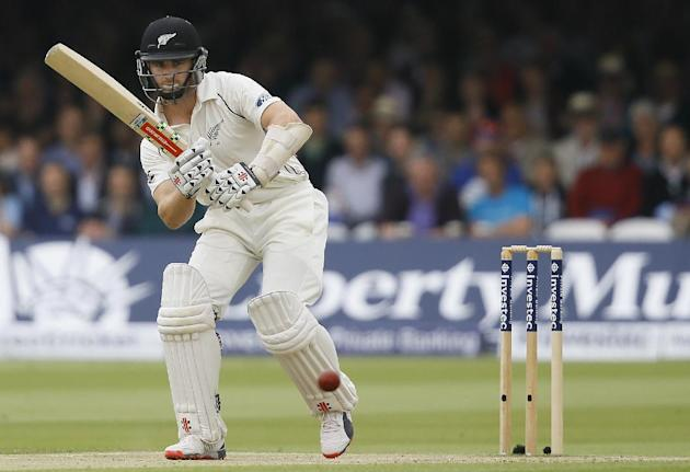 New Zealand's Kane Williamson plays a shot off the bowling of James Anderson during the third day of the first Test match between England and New Zealand at Lord's cricket ground in London, Sa