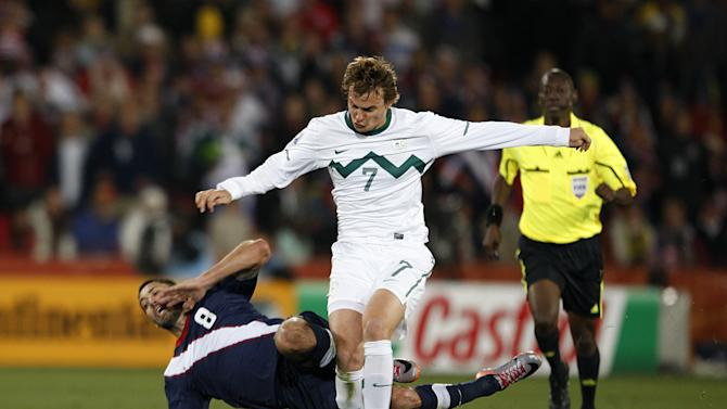 Nejc Pecnik, centre, played for Slovenia in the 2010 World Cup in South Africa