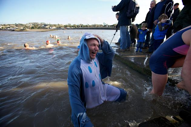 Taking the plunge: A man in an animal costume takes to the water (SWNS)