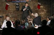 """FILE - In this Wednesday, Dec. 7, 2016 file photo, actor, comedian and radio host Joe Piscopo greets a fan during a comedy event to help raise funds for the Boys and Girls Club of America at the Stress Factory Comedy Club in New Brunswick, N.J. Governor's races this year in Virginia and New Jersey are unfolding in ways strikingly similar to the turbulent 2016 presidential campaign. In New Jersey, the former """"Saturday Night Live"""" comic and Trump supporter is considering a run for governor, possibly as an independent. (AP Photo/Mel Evans, File)"""