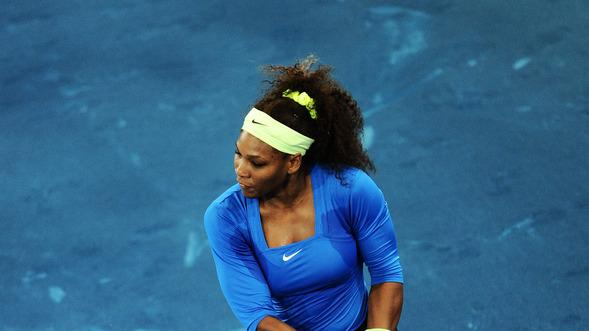 Serena Williams Of The USA Plays A Double Handed Backhand In Her Second Round Match Against Anastasia Pavlyuchenkova Getty Images