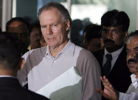India's former cricket coach Chappell leaves after attending a meeting convened by the BCCI in Mumbai