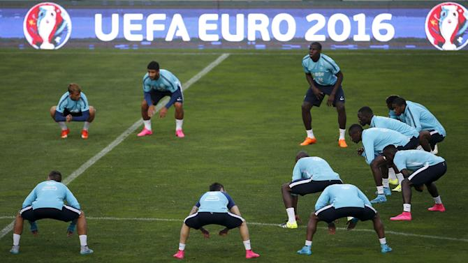 France's national soccer team players attend a training session at Alvalade stadium in Lisbon
