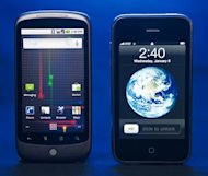 The Google Nexus One(L) smartphone, developed with HTC, and the Apple iPhone (R)