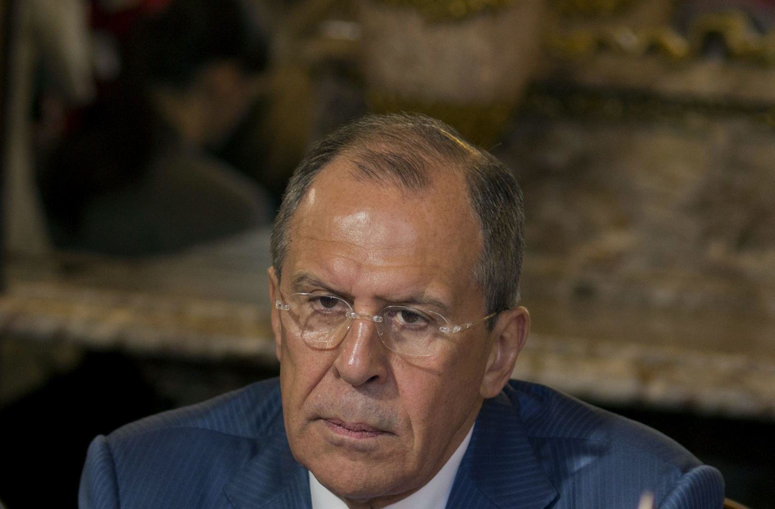 Russian's foreign minister sergey lavrov listens cuba's foreign