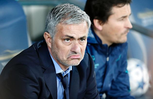Concerns about the pitch and some conflict during the match kept Chelsea head coach Jose Mourinho on edge during a November 24, 2015 game against Maccabi Tel Aviv in Haifa
