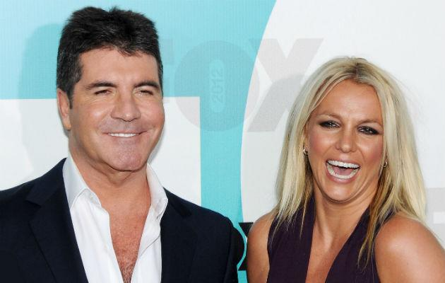 Cowell... with US X Factor judge Britney Spears (Copyright: Rex)