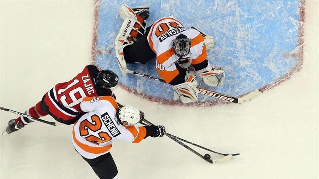 Ice Hockey - Devils beat Flyers in high scoring thriller