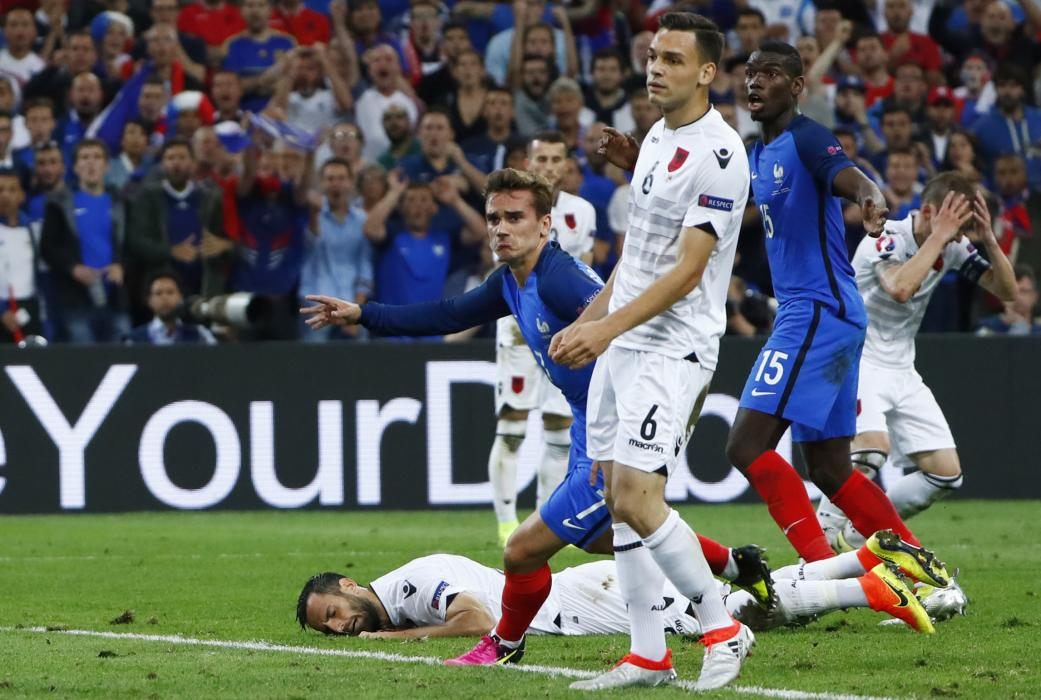 France's Antoine Griezmann celebrates after scoring their first goal