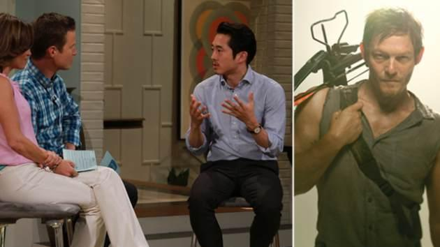 Steven Yeun on Access Hollywood Live (left); Norman Reedus as Daryl Dixon in 'The Walking Dead' (right) -- Access Hollywood