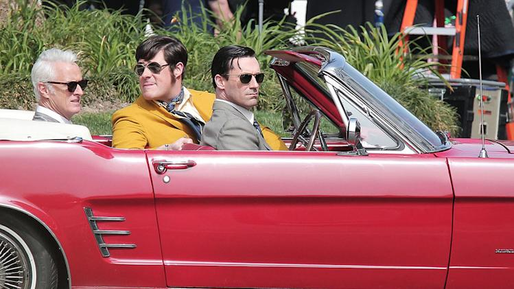 "Jon Hamm, John Slattery and Rich Sommer film a scene for their hit TV show ""Mad Men"" in Los Angeles"