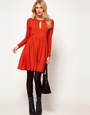 Long-Sleeve Smock Dress with Keyhole