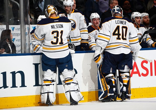 TORONTO, ON - JANUARY 17: Robin Lehner #40 of the Buffalo Sabres is pulled for Anders Nilsson #31 during the second period of play against the Toronto Maple Leafs at the Air Canada Centre on January 17, 2017 in Toronto, Ontario, Canada. (Photo by Mark Blinch/NHLI via Getty Images)