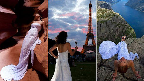 Woman Wears Wedding Dress in 19 Countries Across 147000 Miles for 147 Photo Shoots