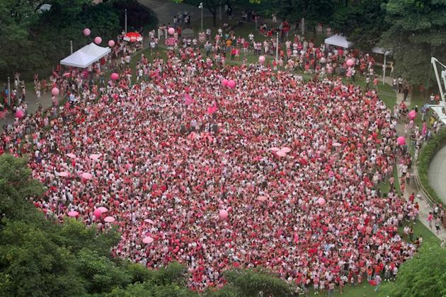 People dressed in pink gather at Hong Lim park in Singapore on June 18, 2011 for the Pink Dot event, which promotes freedom to love regardless of sexual orientation, in a photo made available by the organisers